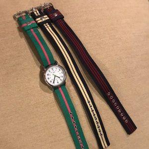 Timex watch, 3 straps
